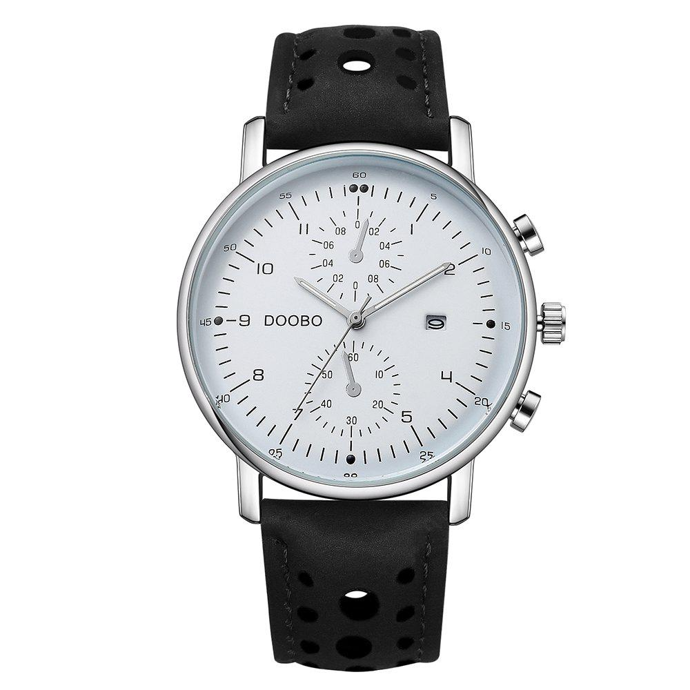 DOOBO D021 4759 Fashionable Leather Band Men Quartz Movement WatchJEWELRY<br><br>Color: WHITE; Brand: DOOBO; Watches categories: Men; Watch style: Business,Casual,Fashion;