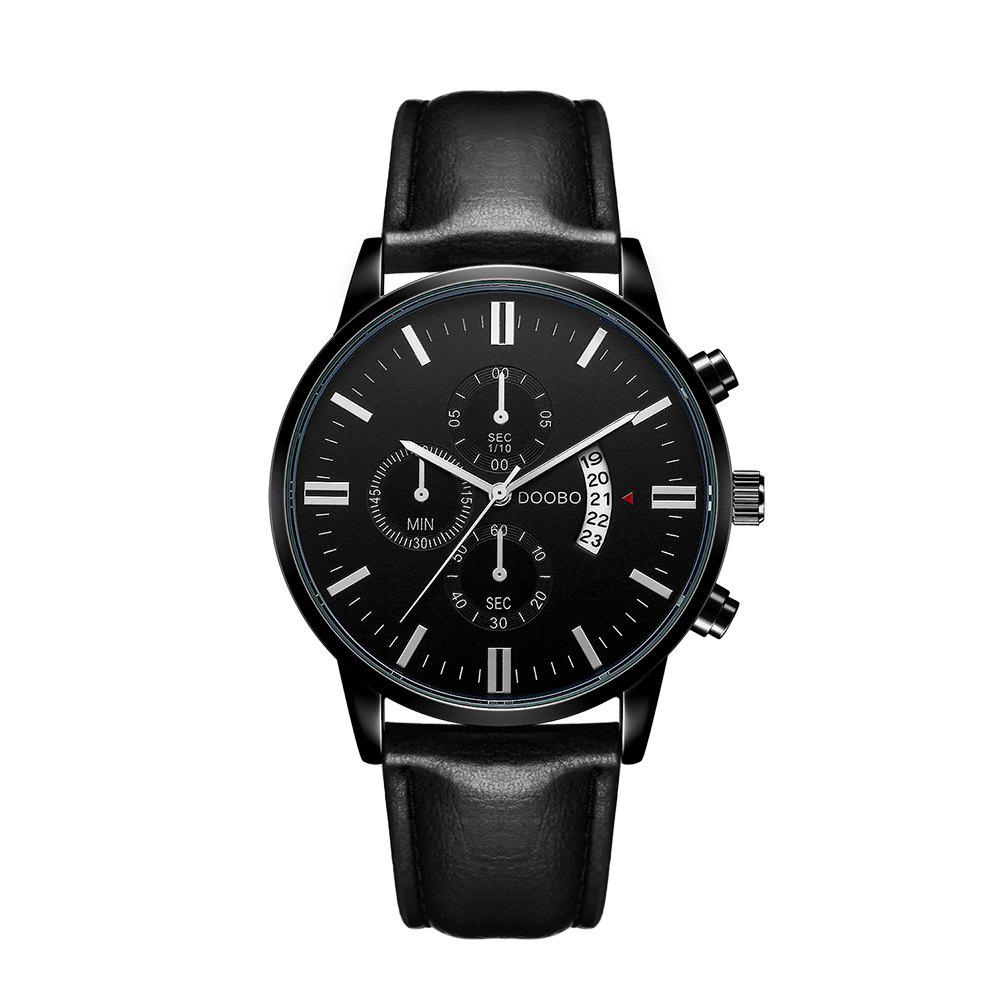 DOOBO D025 4762 Leisure Dial Decor Leather Band Men Quzrtz Movement Watch with BoxJEWELRY<br><br>Color: BLACK; Brand: DOOBO; Watches categories: Men; Watch style: Business,Casual,Fashion;