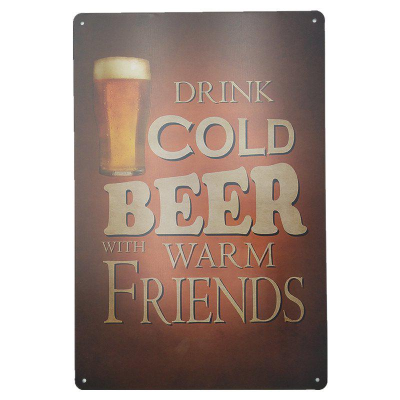 Vintage Style Cold Beer Metal Painting for Cafe Bar Restaurant Wall DecorHOME<br><br>Color: RED;