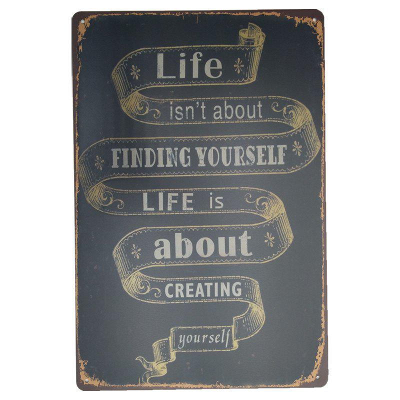Unique Vintage Style Creating Yourself English Proverbs Metal Painting Wall Decor