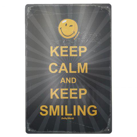 Fashion Vintage Style Keep Smiling English Proverbs Metal Painting Wall Decor