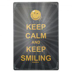 Vintage Style Keep Smiling English Proverbs Metal Painting Wall Decor -