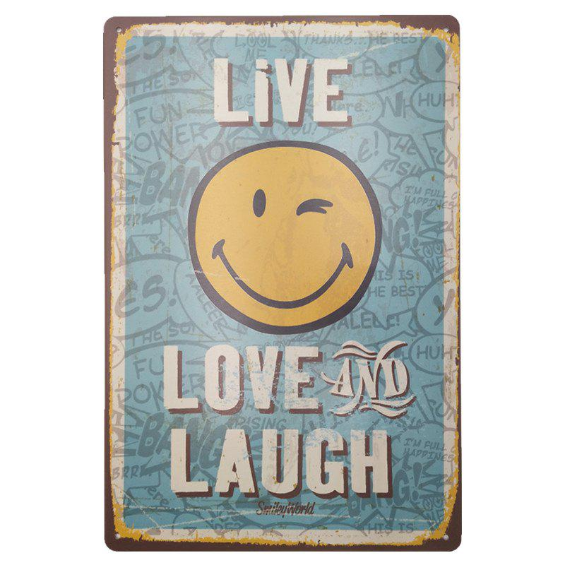 Vintage Style Smile Face Metal Painting for Cafe Bar Restaurant Wall DecorHOME<br><br>Color: BLUE;