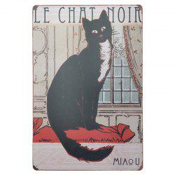 Vintage Style Black Cat Metal Painting for Cafe Bar Restaurant Wall Decor -