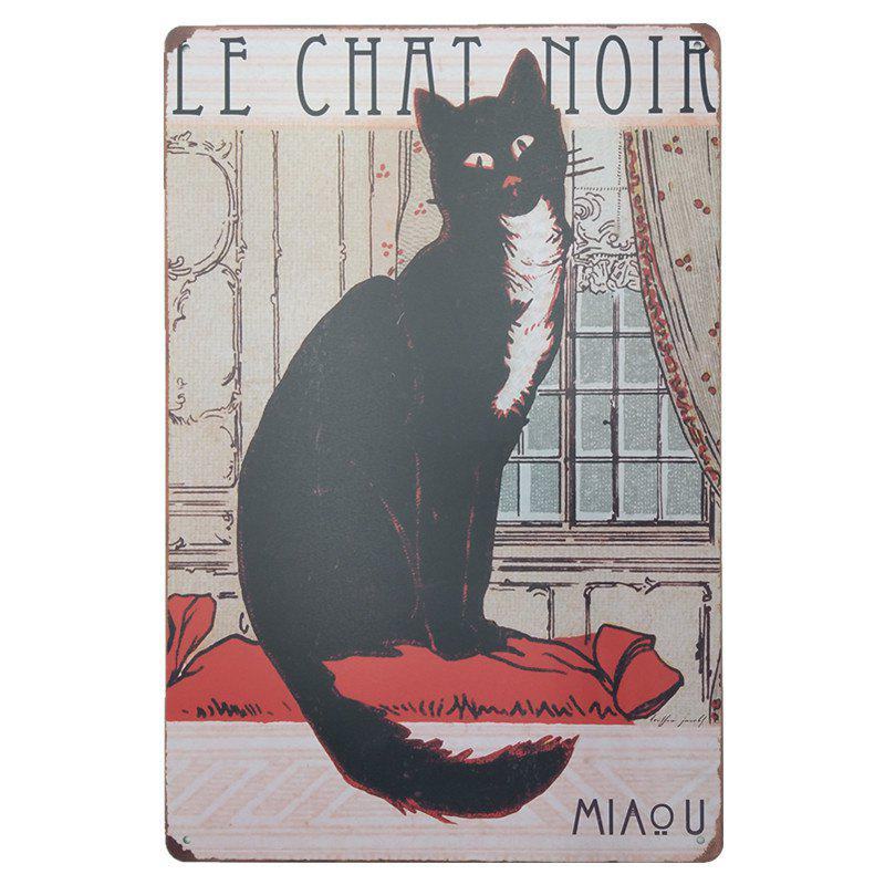 Vintage Style Black Cat Metal Painting for Cafe Bar Restaurant Wall DecorHOME<br><br>Color: COLORMIX;