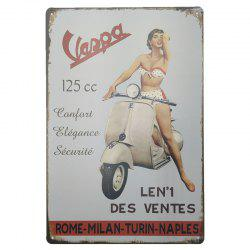 Vintage Girl Metal Painting for Cafe Bar Restaurant Wall Decor -