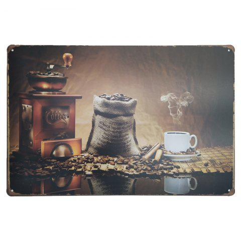 Best Vintage Style Coffee Pattern Metal Painting for Cafe Bar Restaurant Wall Decor