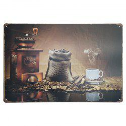 Vintage Style Coffee Pattern Metal Painting for Cafe Bar Restaurant Wall Decor -
