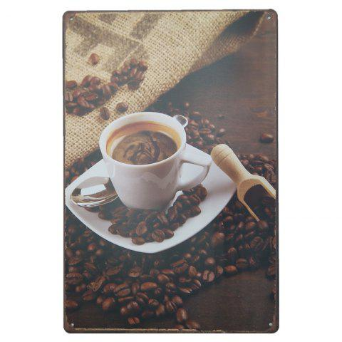 Trendy Vintage Coffee Pattern Metal Painting for Cafe Bar Restaurant Wall Decor