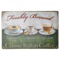 Coffee Pattern Vintage Metal Painting for Cafe Bar Restaurant Wall Decor -