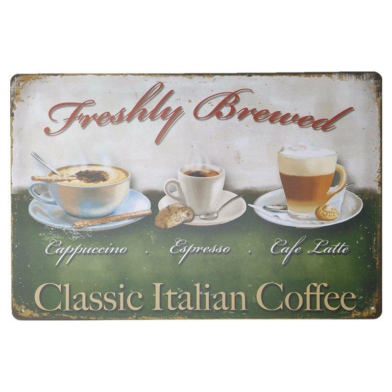 Coffee Pattern Vintage Metal Painting for Cafe Bar Restaurant Wall DecorHOME<br><br>Color: COLORMIX;