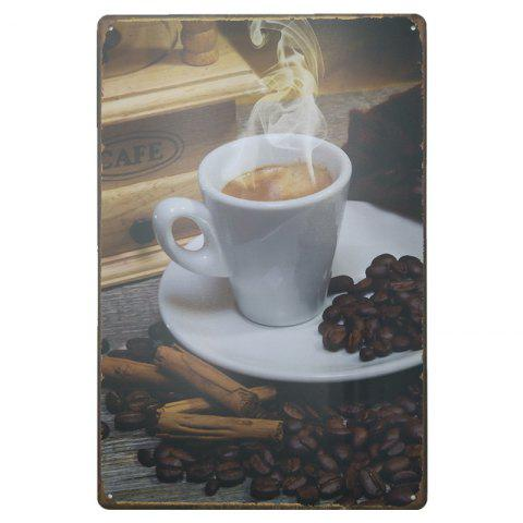 Shop Coffee Pattern Retro Metal Painting for Cafe Bar Restaurant Wall Decor