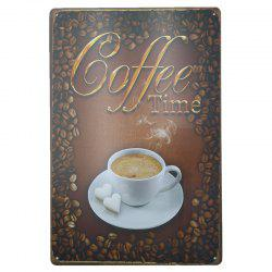 Coffee Pattern Retro Style Metal Painting for Cafe Bar Restaurant Wall Decor -