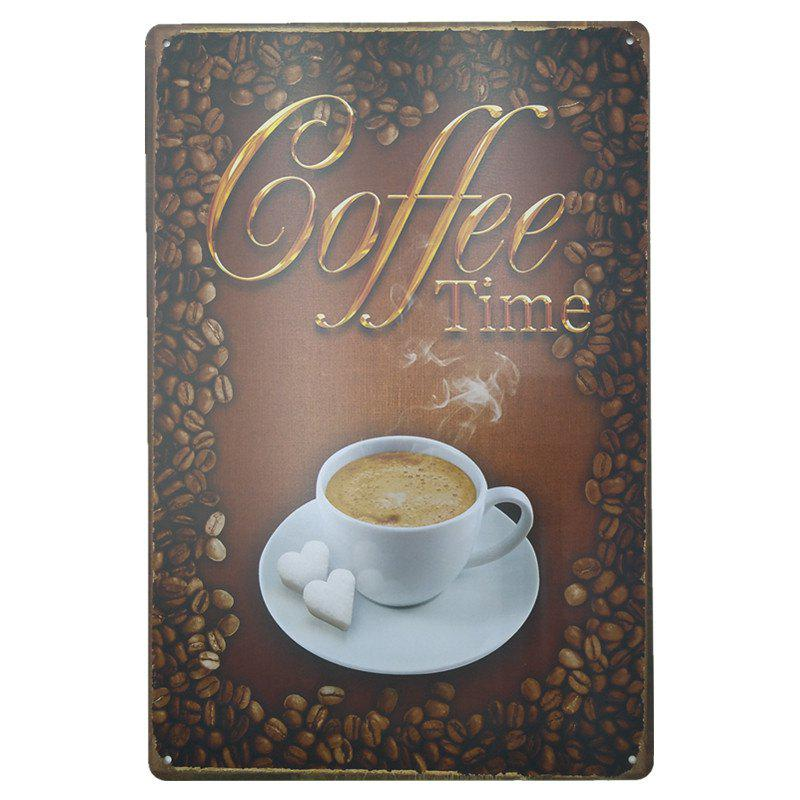 Coffee Pattern Retro Style Metal Painting for Cafe Bar Restaurant Wall DecorHOME<br><br>Color: COLORMIX;