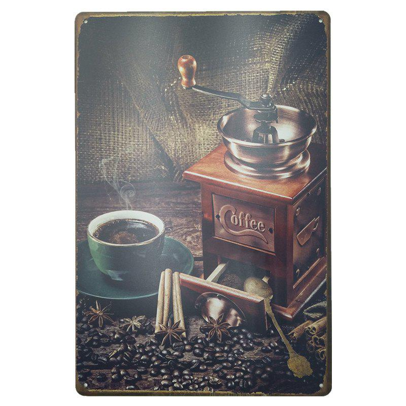 Store Coffee Machine Pattern Retro Metal Painting for Cafe Bar Restaurant Wall Decor