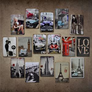 Vintage Car Style Metal Painting for Cafe Bar Restaurant Wall Decor -