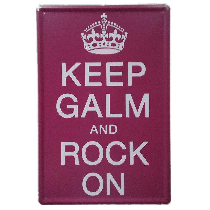 Keep Calm and Rock On Retro Style Metal Painting  Wall DecorHOME<br><br>Color: RED;