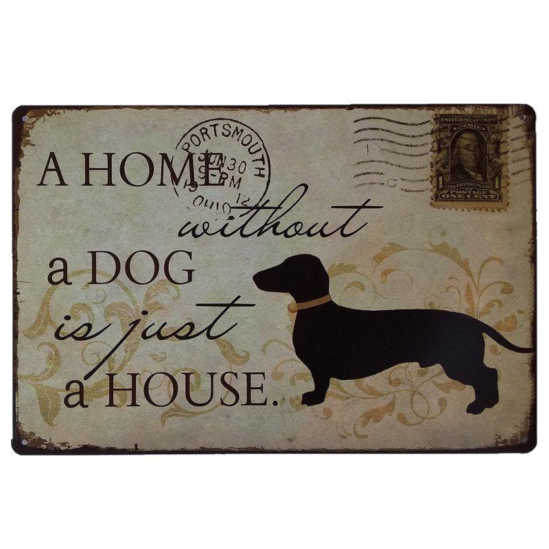 Discount Dog Stamps Retro Style Metal Painting for Cafe Bar Restaurant Wall Decor