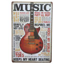 Violin Retro Style Metal Painting for Cafe Bar Restaurant Wall Decor -