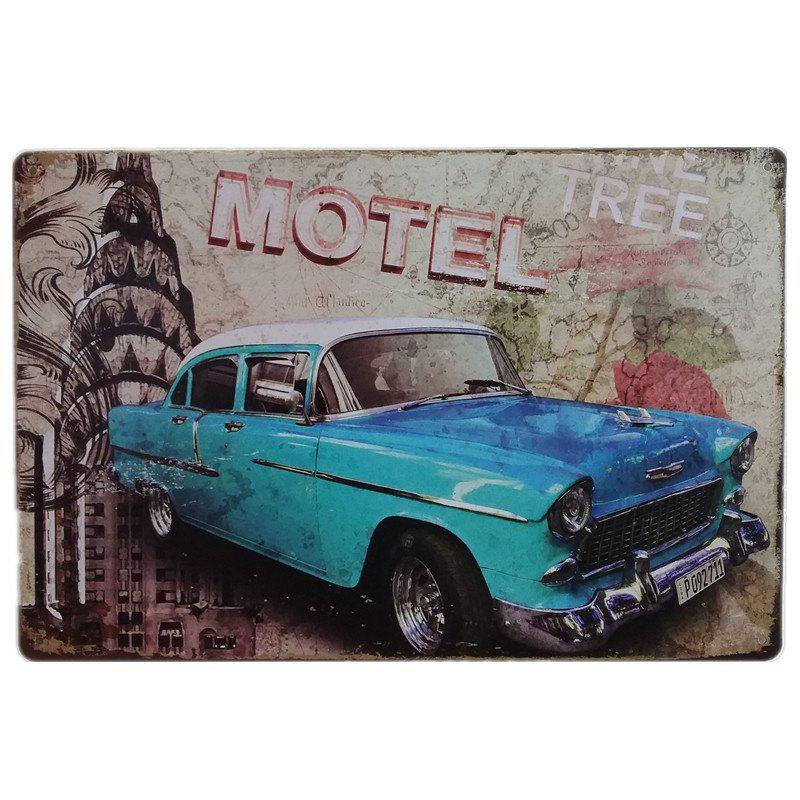 Fashion Vintage Blue Car Style  Metal Painting for Cafe Bar Restaurant Home Wall Decor