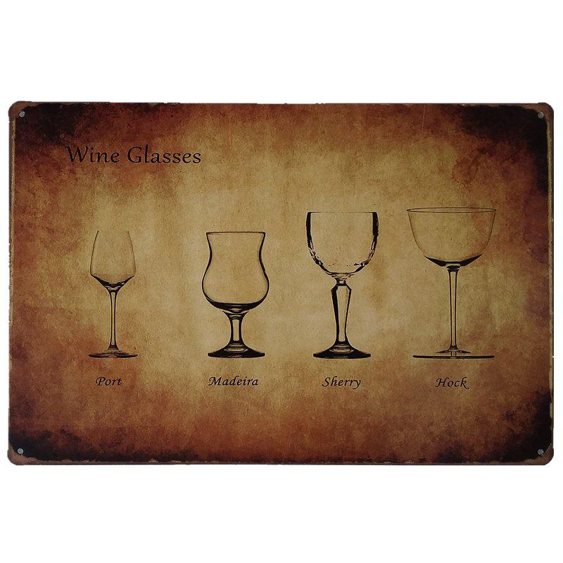 Chic Wineglass Vintage Style  Metal Painting for Cafe Bar Restaurant Wall Decor