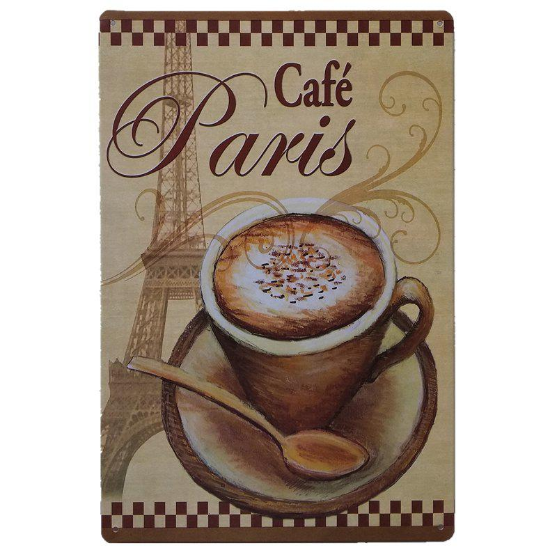 Shops Creative Cafe Poster Metal Painting for Cafe Bar Restaurant Wall Decor