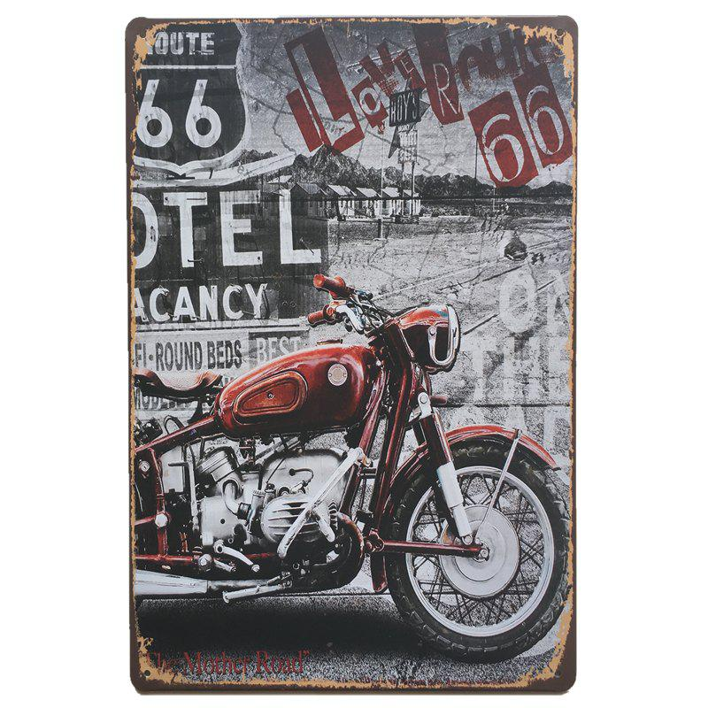 Motorcycle Pattern Vintage Style Metal Painting for Cafe Bar Restaurant Wall DecorHOME<br><br>Color: COLORMIX;