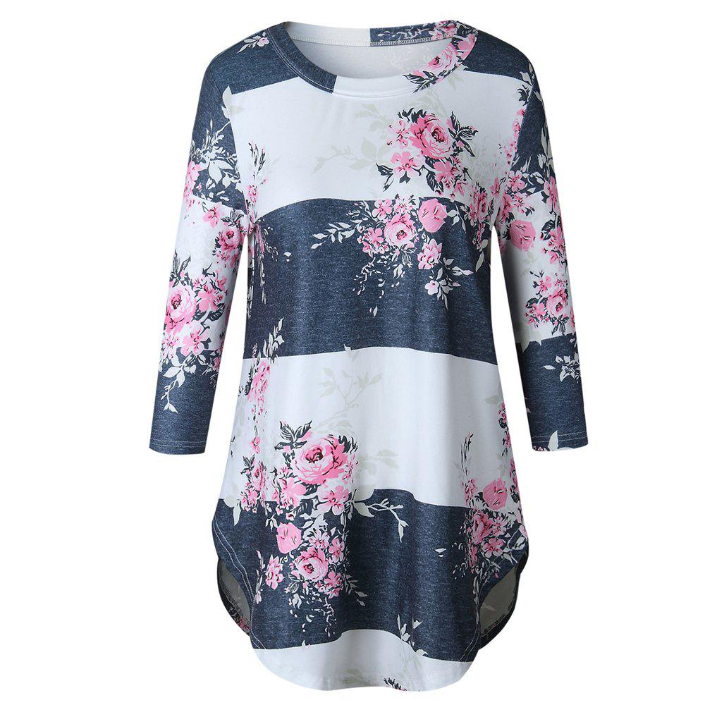 2017 New Autumn Long-Sleeved Floral Print T-ShirtWOMEN<br><br>Size: M; Color: WHITE;