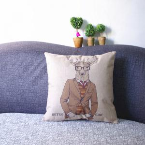 3PCS Deer Print Linen Pillow Cover Cushion -