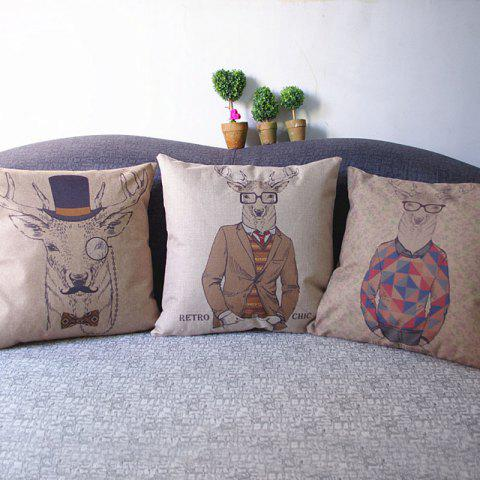 Sale 3PCS Deer Print Linen Pillow Cover Cushion