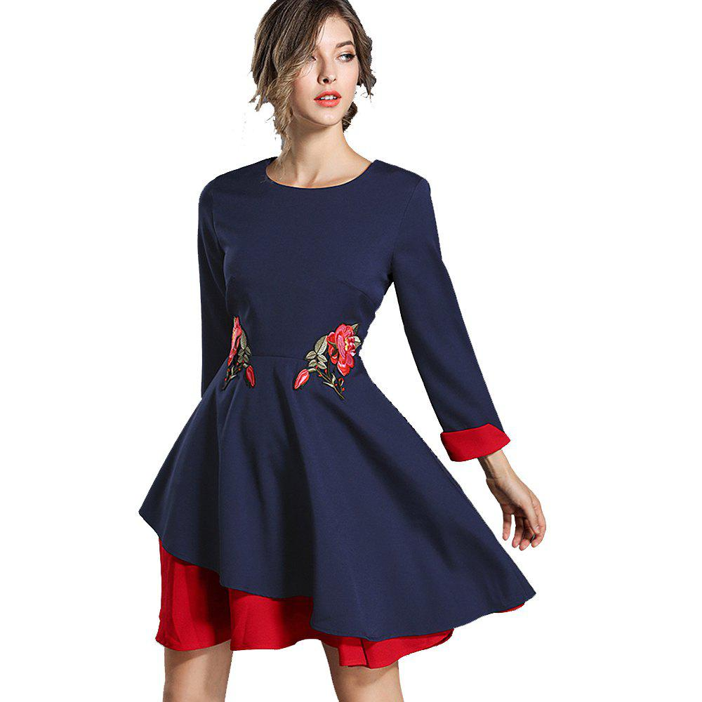 Buy Autumn and Winter New Color Embroidery Dress