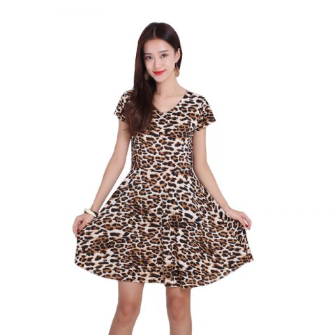 Outfits Women's Leopard Increase Prints Dresses