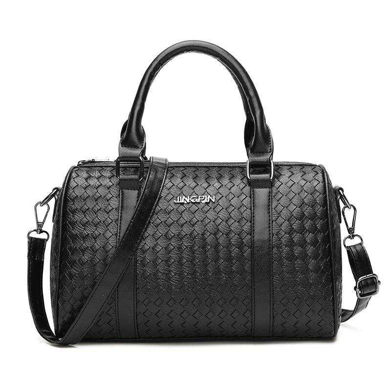 Simple PU Leather All-match Fashion Lady HandbagSHOES &amp; BAGS<br><br>Color: BLACK;