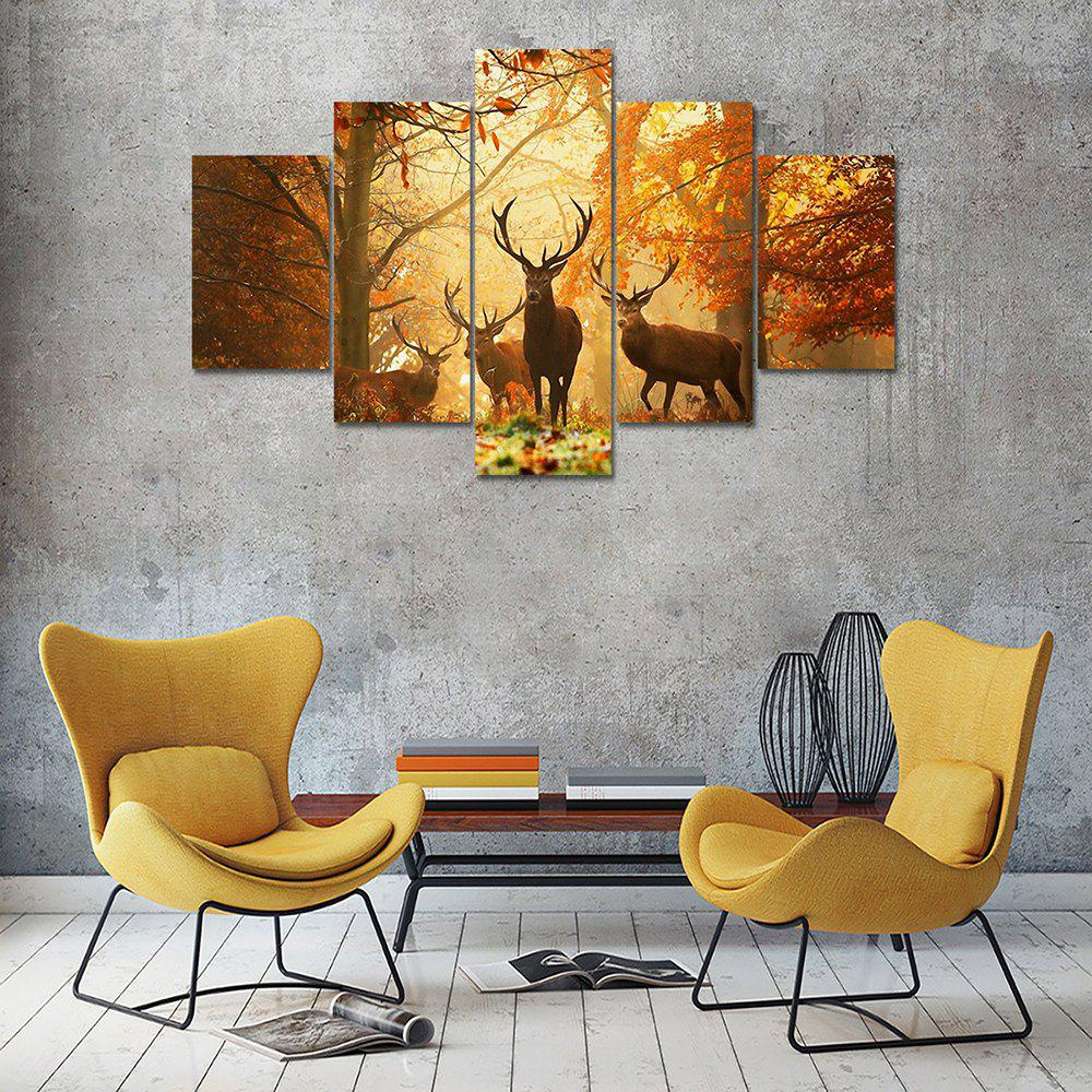 Maple Leaf Deer Canvas Print Painting Home Decoration 5PCSHOME<br><br>Color: COLORMIX; Material: Canvas; Shape: Vertical; Craft: Print; Form: Five Panels; Painting: Without Inner Frame; Subjects: Animal; Style: Others; Suitable Space: Bedroom,Dining Room,Kids Room,Living Room,Office,Study Room / Office;