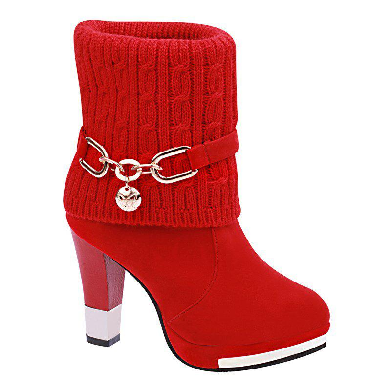 Shop HSL-W-98 Round Sets Foot Mouth Wool Frosted All-match Thick Heeled Fashion Female Martin Boots