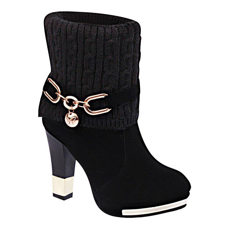HSL-W-98 Round Sets Foot Mouth Wool Frosted All-match Thick Heeled Fashion Female Martin BootsSHOES &amp; BAGS<br><br>Size: 37; Color: BLACK;