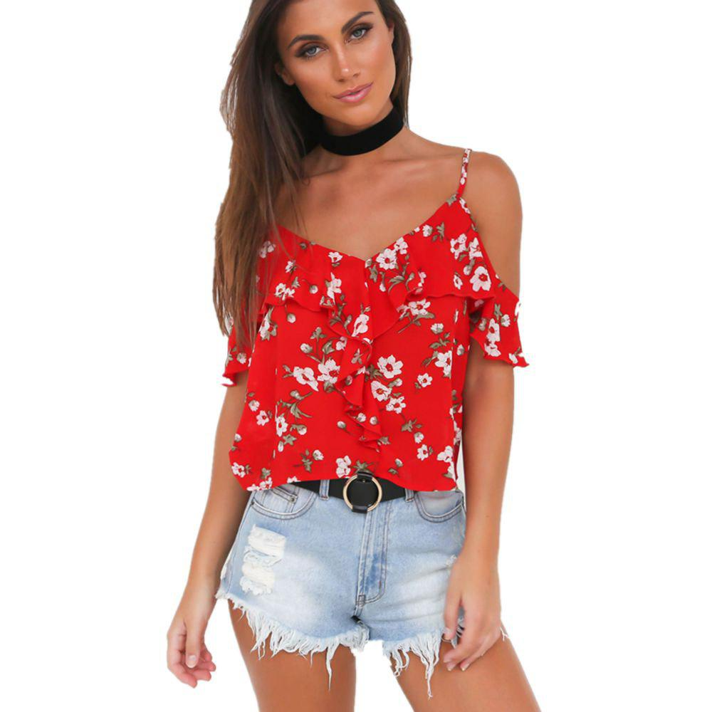 Lotus Leaf Sexy Beach Cami TopWOMEN<br><br>Size: M; Color: RED;