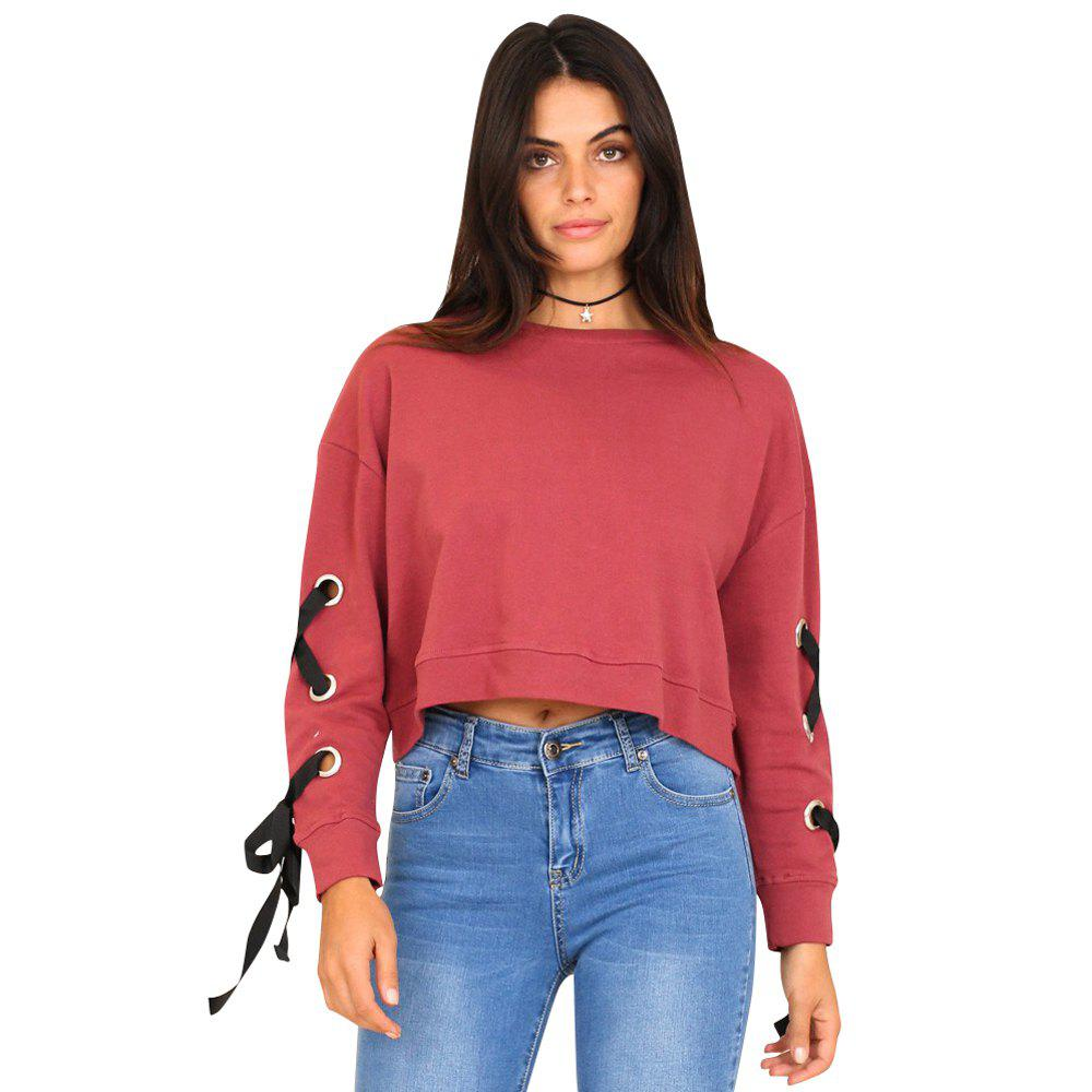 Europe and The United States Wild Casual Sleeves with Straps Short Sets of Women SweatshirtWOMEN<br><br>Size: M; Color: RED;