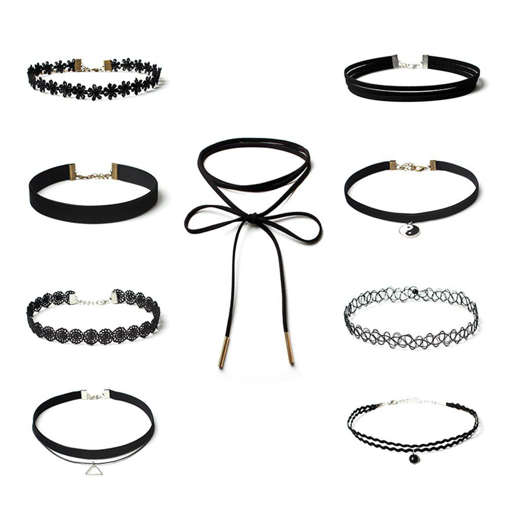 9pcs Womens Chokers Vintage Style All Match Multielement Lace AccessoryJEWELRY<br><br>Size: 1 SET; Color: BLACK;