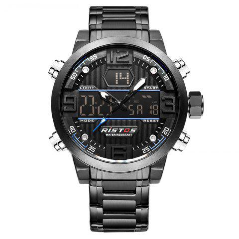 Chic RISTOS 9338 Men Waterproof Steel Band Electronic Watch
