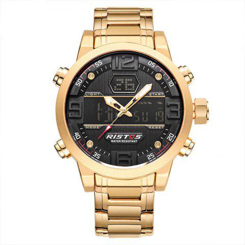 Fashion RISTOS 9338 Men Waterproof Steel Band Electronic Watch