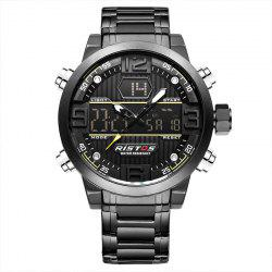 RISTOS 9338 Men Waterproof Steel Band Electronic Watch -