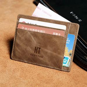 Hautton Genuine Leather Wallet Slim Thin Minimalist Pocket Wallets Card Holder -