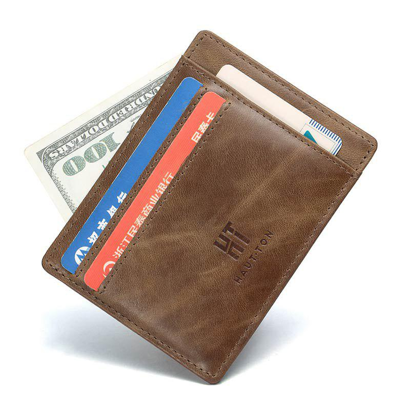 835af04c113d HAUT TON High-end Leather Wallet Slim Thin Minimalist Pocket Wallets Card  Holder