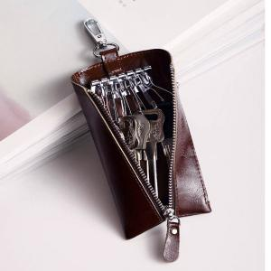 Hautton Clean Vintage Leather Key chain Holder Wallet Dark Brown Car Case -