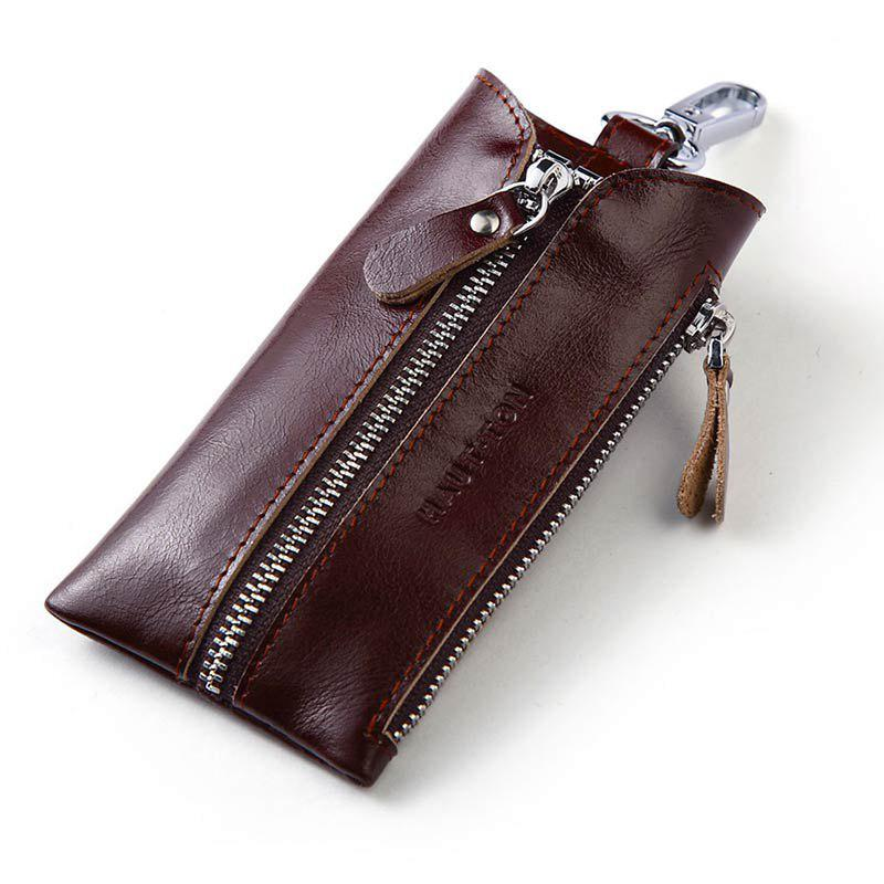 New Hautton Clean Vintage Leather Key chain Holder Wallet Dark Brown Car Case