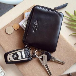 Hautton Wallet for Men Travel and Work Genuine Leather Accordion Style Money Clip Organizer with Key Chain -