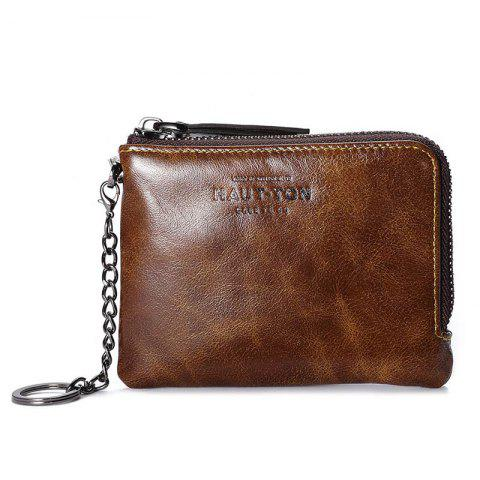 Trendy Hautton Wallet for Men Travel and Work Genuine Leather Accordion Style Money Clip Organizer with Key Chain