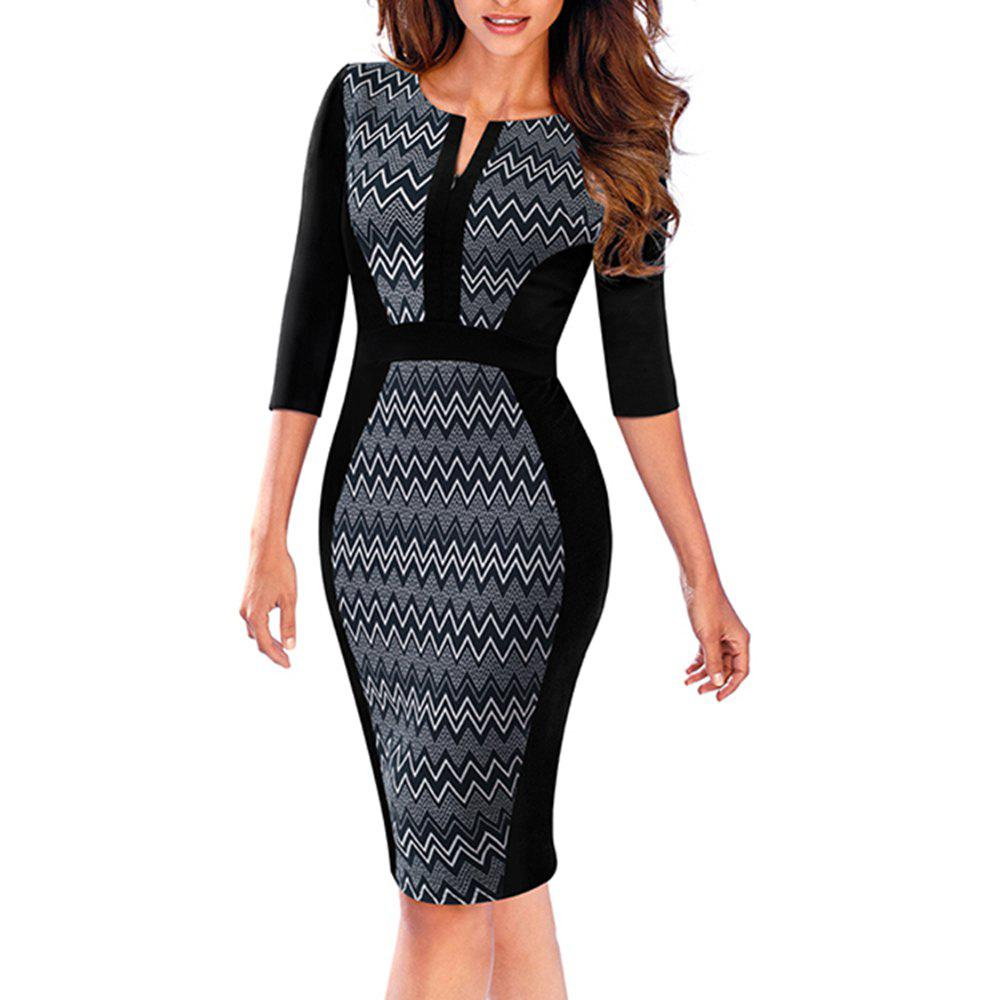 Women Retro Contrast Patchwork Wear to Work Business Vestidos Office Bodycon Zipper Sheath Female DressWOMEN<br><br>Size: L; Color: DEEP BLUE;