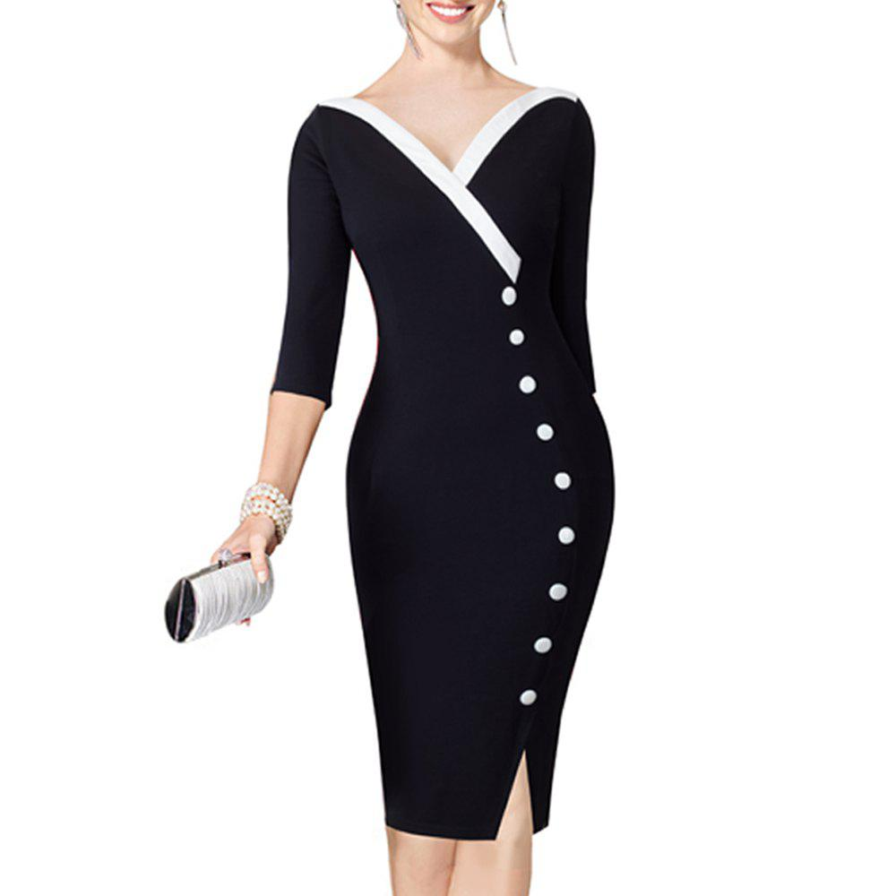 V-neck Stylish Button Office Bodycon Female Sheath Pencil Work DressWOMEN<br><br>Size: M; Color: BLACK; Style: Vintage; Material: Cotton Blend; Fabric Type: Canvas; Silhouette: Sheath; Dresses Length: Knee-Length; Neckline: V-Neck; Sleeve Length: 3/4 Length Sleeves; Pattern Type: Solid; Elasticity: Micro-elastic; With Belt: No; Season: Fall; Weight: 0.3800kg; Package Contents: 1?Dress;